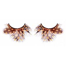Ресницы жёлто-коричневые  перья  Поразительные ресницы из мягких высококачественных перьев ручной обработки в осенней палиtpe, пушистые, с рисунком в крапинку.