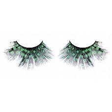 Ресницы тёмно-зеленые  перья  Очень стильные черные ресницы из мягких высококачественных перьев ручной обработки с рисунком в зеленую крапинку.