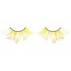 Ресницы жёлтые  перья  Удивительные пушистые ресницы из мягких высококачественных перьев ручной обработки ярко-желтого цвета с оранжевыми вкраплениями.