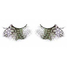 Ресницы коричнево-зелёно-фиолетовые  перья  Обворожительные ресницы из мягких высококачественных перьев ручной обработки, выполненные в коричневом, зеленом и лиловом цветах, пушистые, с рисунком в крапинку.