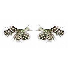 Ресницы тёмно-зеленые  перья  Благородные ресницы из мягких высококачественных перьев ручной обработки, выполненные в светло-коричневом и зеленом цветах, пушистые, с рисунком в крапинку.