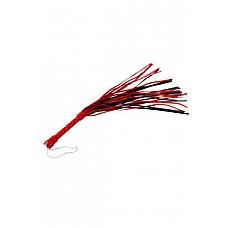 Плеть черно-красная  Гладкая плеть (флоггер) изготовлена из натуральной кожи.