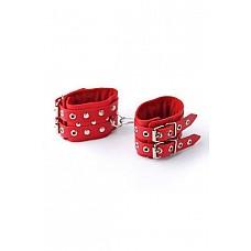 Наручники красные  Изготавливаются из натуральной кожи с велюровой подкладкой.