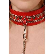 Ошейник с цепью красный  Изготовлен из натуральной кожи с велюровой подкладкой.