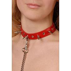 Ошейник с шипами красный  Изготовлен из натуральной кожи с велюровой подкладкой.