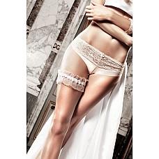 Accessoires Подвязка белая из тюля с рюшечками  По-райски легко облегает Вас эта белая подвязка,  умело соблазняющая сверкающим тюлем с тонкими, прозрачными рюшами.