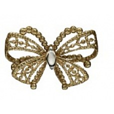 Бабочка золотая со стразами