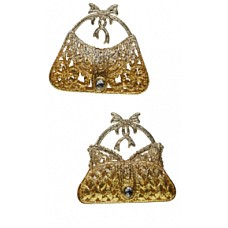 Сумочка серебряно-золотая со стразами
