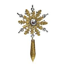 Снежинка с подвеской серебряно-золотая