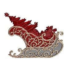 Сани с елкой красно-золотые