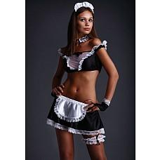 Костюм Горничная (Flirt-On 2427)  Костюм Горничная , в комплект входит головной убор, жабо, топ, юбка, перчатки, подвязка.