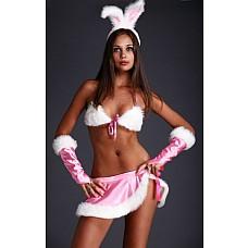 Костюм Розовая зайка (Flirt-On 2467)  Костюм Розовая зайка, в комплект входит Топ, юбка, перчатки, ободок с ушками