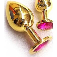 Золотая анальная пробка GOLDEN PLUG Large с рубиновым кристаллом  Изготовлена из медицинской стали с позолотой.