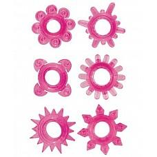 Набор из 6 розовых эрекционных колец (Toyfa 888200-3)  Набор из 6 розовых эрекционных колец