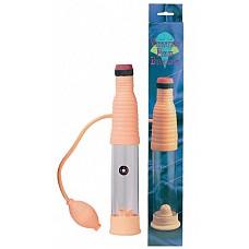 Вакуумный массажер-помпа со встроенным вибратором ( Dream toys 50157)  Помпа-массажер для мужчин с вибратором. Удобное расположение груши, с помощью которой откачивается воздух из колбы, обеспечивает хорошее разряжение и высокую степень вакуумирования, а благодаря  вибрации, распространяющейся на всю длину полового члена, дополнительно стимулируется возбуждение мужчины и усиливается эрекция.