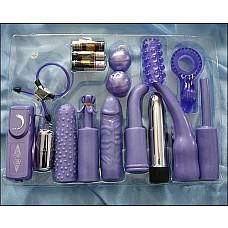 Универсальный сиреневый набор для анально-вагинальной стимуляции ( Dream toys 50299)  Великолепный и недорогой набор вибраторов и насадок для людей, которые любят получать удовольствие по максимуму -все и сразу. Пластиковый вибратор (длина 10 см, диаметр 2,5 см) и вибрирующее яичко снабжены 7-ю насадками для анальной и вагинальной стимуляции, которые могут одеваться как на вибратор, так и на виброяйцо. Также в комплект входят вагинальные шарики,  эрекционное кольцо-лассо с фиксатором.Кроме того, в комплекте 3 батарейки, необходимые для работы вибраторов.
