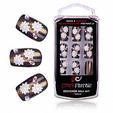 Бронзовые акриловые типсы с цветами и кристаллами BRONZE BEAUTY EF-NS11  Роскошные типсы из акрила для идеального маникюра.