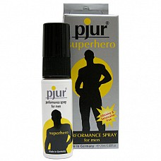 Пролонгирующий мужской спрей pjur superhero spray,  20 ml  Специально разработанный косметический продукт для мужчин, продлевающий эрекцию. Благодаря специальной формуле спрей несколько снижает чувствительность головки пениса, позволяет избежать преждевременной эякуляции. Не содержит лидокаин и бензокаин. Спрей наносится непосредственно перед половым актом на пенис, достаточно 2 - 4 нажатий на распылитель. Для выявления аллергических реакций рекомендуется сначала нанести небольшое количество спрея на запястье. При проявлении аллергии немедленно прекратить использование, тщательно смыть. Не наносить на поврежденную кожу.