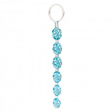 Анальная цепочка SWIRL голубого цвета  Гибкая анальная цепочка полупрозрачного голубого цвета из шести шариков спиральной формы. Между собой шарики соединены таким же материалом - прочной и гибкой термопластичной резиной. Длина всей цепочки от кольца 20 см. Диаметр от 2 до 2,5 см.