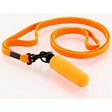 Оранжевая вибропулька с ремешком на шею, 6 см.  Вибратор-мини с ремешком на шею  6см оранжевый