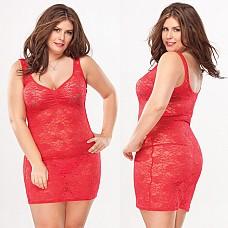 Платье из красного цветочного гипюра RED HEART 1955red OS XL CQ  Красное платье из эластичного полупрозрачного гипюра, оформлено ярким цветочным принтом.