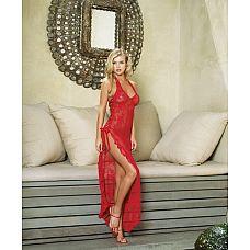 Платье с разрезом Leg Avenue, One Size, Красный  Длинное элегантное платье-сетка с разрезом и стринги.