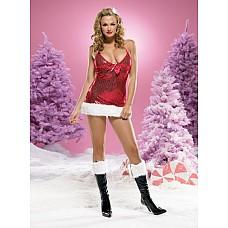 Новогоднее мини-платье, L,   Блестящее мини-платье красного цвета с бантиком и белой меховой оборкой.
