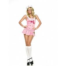 Костюм морячки розового цвета, M/L,   В комплекте: платье с якорем на поясе и шапочка.