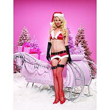 Новогодний комплект белья, M/L, Красный  Атласный комплект белья с белой меховой отделкой.