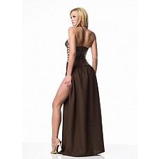 Платье Slave Princess, M  Элегантное длинное платье коричневого цвета с вышивкой по корсету из кожзаменителя.