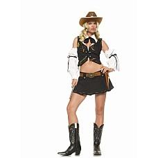 """Костюм """"Шериф"""" - Leg Avenue, M, Коричневый  Элегантный костюм шерифа: жилет с воротником, плиссированная юбка и нарукавники."""