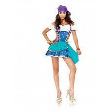 Платье цыганской принцессы, M/L  Платье цыганской принцессы в ярких бирюзово-голубых цветах и головной убор.