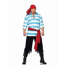 Костюм пирата от Leg Avenue, M/L  Костюм пирата: полосатая рубаха на шнуровке, штаны в клочьях, пояс и косынка.