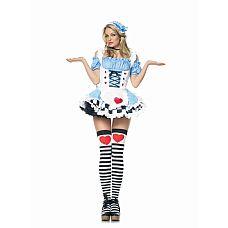 """Костюм """"Алиса в Cтране чудес"""", M  Костюм """"Алиса в Cтране чудес"""": нежное платье с передничком, собранное сзади, и кружевная повязка на голову."""
