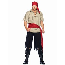 Костюм кровожадного пирата, S/M  Костюм кровожадного пирата: льняная рубаха, брюки в клочьях, пояс и повязка на голову.