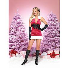 Новогоднее платье, S/M, Красный  Элегантное вельветовое новогоднее платье с глубоким декольте, большим бантом и меховой отделкой.
