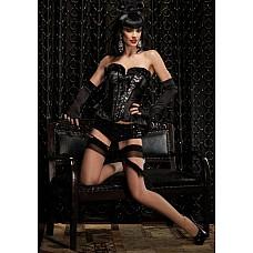 """Корсет """"Грация"""", черный, M,   Роскошный корсет из черного атласа, украшенный изысканными кружевами и оборками."""