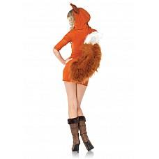 Игровой костюм Лисичка Рокси, S/M  Оранжевое мини-платье с белой отделкой.