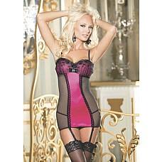 Сорочка с подвязками и рисунком из роз на груди
