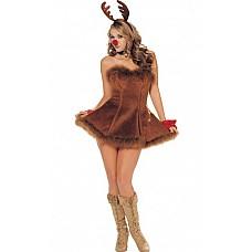 Костюм подружки Санта Клауса  Очень симпатичное платье  без бретелей из мягкого бархата с отделкой.