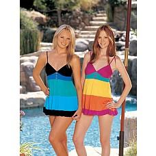 Короткое платье в полоску  Подыскиваете эротическое белье, которое подойдет игривой девушке? Разноцветная комбинация с регулируемыми бретелями позволит Вам выглядеть игриво, ярко и настроиться на беззаботный секс.