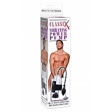 Вакуумная помпа с вибрацией CLASSIX  Мужская вакуумная эрекционная помпа с грушой для нагнетания воздуха. С помощью эластичной резинки на колбу крепится виброэлемент, также есть кармашек для выносного пульта.