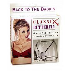 Клиторальный стимулятор-бабочка CLASSIX  Стимулятор клитора на ремешках-резиночках для женщин. Выносной пульт управления регулирует интенсивность вибрации бабочки. Пульт работает от 2 пальчиковых батареек типа АА. Бабочка сделана из фиолетовой полупрозрачной резины.