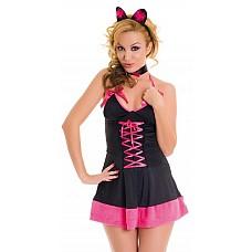 Костюм кошечки черно-розовый  Костюм кошечки черно-розовый