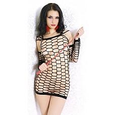 Черное бесшовное платье-сетка  Черное бесшовное платье-сетка