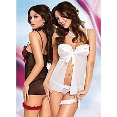 Комплект:сорочка с атласным бантиком на лифе и трусики-стринг  Комплект:сорочка с атласным бантиком на лифе и трусики-стринг, эротичная подвязка на ножку.