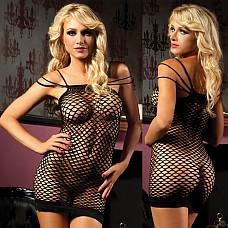 Откровенное черное платье STM-9512PBLK  Откровенное эластичную мини-платье облегающего кроя в среднюю сетку, легко покорит своей прозрачностью и открытостью любого мужчину.