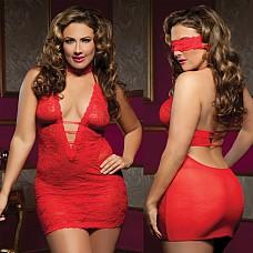Ажурное платье с глубоким декольте UKRN STM-9217XRED  Кружевное платье с глубоким декольте, украшает тройная тесьма спереди и сзади.
