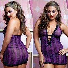 Платье фиалкового оттенка UKRN STM-9491XPPUR  Чудесное облегающее платье насыщенного фиалкового цвета с леопардовым принтом.