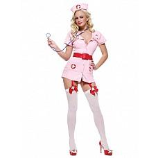 Костюм Похотливая медсестра розовая 02211SM  Гламурный розовый эротический костюм медсестры № для смелых женщин, желающих подчеркнуть свою сексуальность.